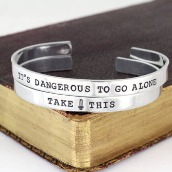 It's Dangerous to go Alone - Take This - Legend of Zelda - Video Game Bracelet Set