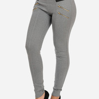 High Waist Banded Gray Pants with Zipper Design