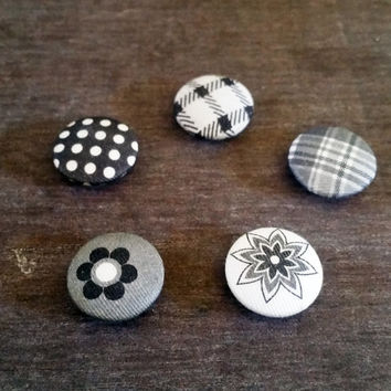 Button Magnet Set in Grays, White, and Black 3/4 Inch Set of Five with Strong Rare Earth Magnets Cubicle Decor, Refrigerator, Fridge Magnet