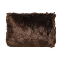 FAUX FUR ZIPPER CLUTCH - BROWN