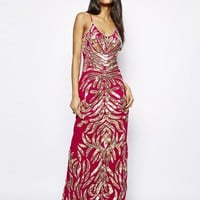 Virgos Lounge Sadie Cami Maxi Dress in All Over Embellishment