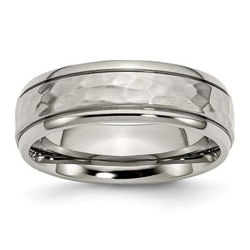 Men's Titanium Grooved Edge Hammered and Polished Wedding Band Ring