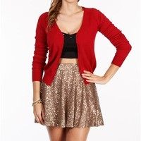 Brick Red Long Sleeve Lightweight Cardigan