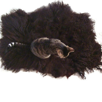 Cat Bed Cruelty Free Wool Fleece Hand Felted Rug - Icelandic Black - Supporting US Small Farms - Ready to Ship
