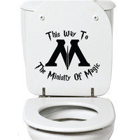 This Way to the Ministry of Magic Toilet Harry Potter Decal Sticker Vinyl Carving Decal Sticker for Toilet Decoration