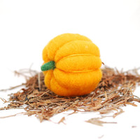 Needle Felted Pumpkin orange wool autumn fall decor by feltjar