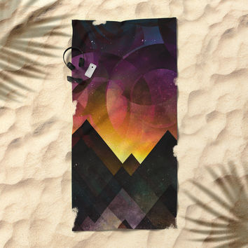 Whimsical mountain nights Beach Towel by HappyMelvin
