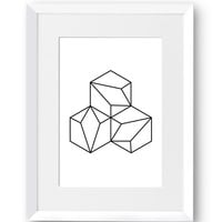 Hexagon, Geometric, Swedish, Home Decor, Contemporary, Modern art, Scandinavian Print, Printable art, Digital Print