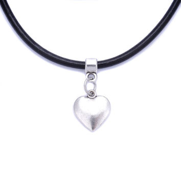 Black Real Leather Cord Heart Charm Choker Necklace Pendant Retro Hippy Tibetan Silver
