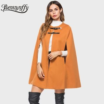 Benuynffy Leather Buckle Cloak Poncho Women Coat New Fashion Round Neck Woolen Overcoat Female Autumn Loose Cape Coat W511