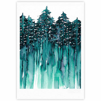"Ebi Emporium ""Forest Through The Trees 5"" Teal White Fine Art Gallery Print"
