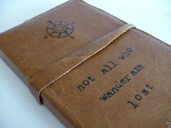 leather journal handprinted custom for you by inblue on Etsy