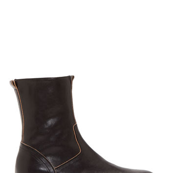 Ann Demeulemeester Black Leather Stacked Sole Boots