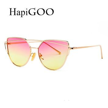 Fashion Cat Eye Sunglasses Women Men Designer Twin-Beams Eye wear Clear Gradient Glasses Sun Glasses For Female