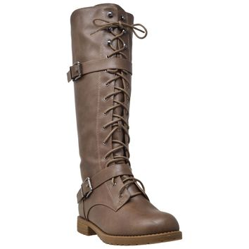 Womens Knee High Boots Combat Lace Up Buckle Block Heel Shoes Taupe