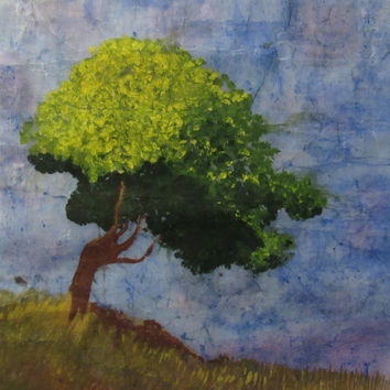 Tree painting abstract landscape watercolor batik on Japanese rice paper