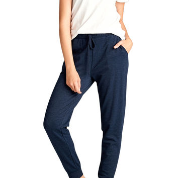 Women Athletic Banded Waist French Terry Jogger Sweatpant