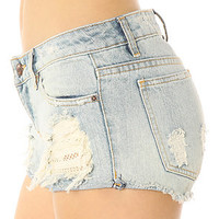 Obey Short Leather & Lace Denim Destroy
