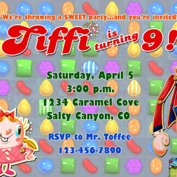 CANDY CRUSH SAGA Birthday Party Invitation - Completely Customized