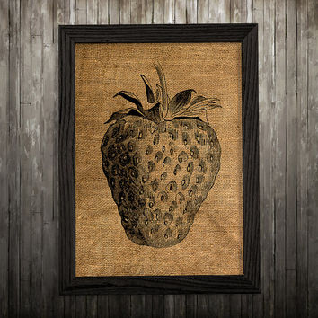 Strawberry print Burlap art Berry poster Kitchen print BLP758