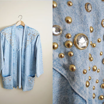 Denim Dazzle - vintage 80s Light Denim Kimono Jacket with Bejeweled Studs