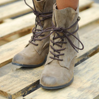 Brown Lace Up Boots - Lotus Boutique