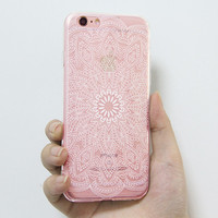 iPhone 6S Clear Case iPhone 6 Transparent Case iPhone 6s 6 Plus  Soft Slim Thin Durable Protective Case Retro White Floral N0037-1