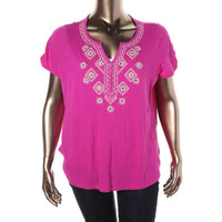 Style & Co. Womens Plus Slub Embroidered Henley Top