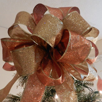 Large Gold and Bronze Glitter  Christmas Tree topper bow and 12 ornament bows