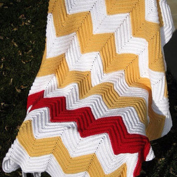 Handmade Chevron Crochet Afghan (Yellow, White, Red)