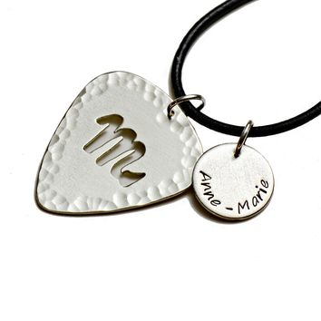 Personalized Zodiac Sterling Silver Guitar Pick with Disc Charm Necklace