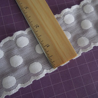 1 yard of 2 inch White Stretch elastic lace with polkadots for bridal, baby headband, garter, hair accessories by MarlenesAttic - Item QQ1