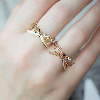 Adjustable ribbon bow ring gold rose gold bowtie ring dainty bow ring
