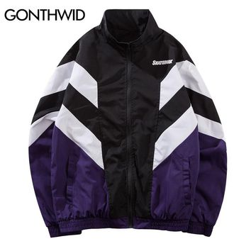 GONTHWID Vintage Color Block Patchwork Windbreaker Track Jackets 2018 Autumn Hip Hop Causal Streetwear Fashion Full Zip Up Coats