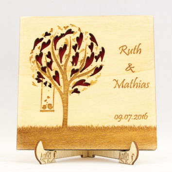 Wedding Tree with Love Birds Guest Book, Tree Wedding Guest Book, Wood Tree Guest Book, Forest Guest Book, Rustic Wedding, Hearts Guest Book