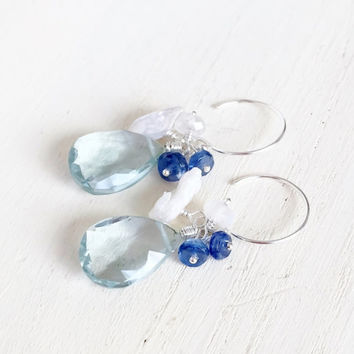 Light, Aquamarine Quartz Briolettes with Dark Blue Kyanite, Rainbow Moonstone and Keshi Pearls in Sterling Silver