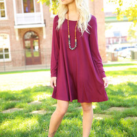 Piko Trapeze Dress - Dark Maroon