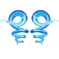 BodyJ4You 2PC Glass Ear Tapers Plugs 4G-16mm Aqua Blue Spiral Zigzag Gauges Piercing Jewelry
