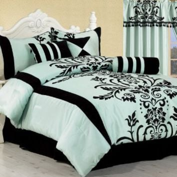 Chezmoi Collection 7-Piece Aqua with Blue and Black Floral Flocking Bed-in-a-Bag Comforter Set, Que