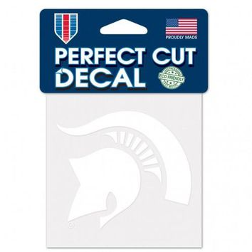 NCAA Michigan State Spartans 4x4 White Perfect Cut Decal