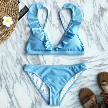 Bikini Set beach body CUPSHE Fresh Aroma Solid  Swimsuit Summer Swimsuit Beach Bathing Suit Swimwear Brazilian Biquini monokini