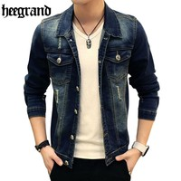 HEE GRAND Men Denim Jacket Men Autumn Spring Outdoors Casual Jeans Jacket Men Fashion Men Coats MWJ2240