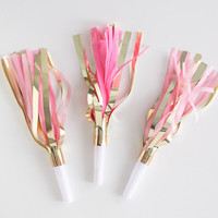 Handmade Fringe Party Horns: Pinks