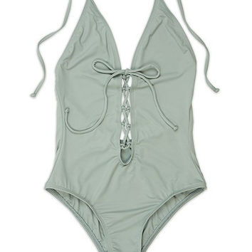 Bimini Mint Lace Up One Piece Swimsuit