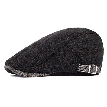 Sweet Home Gift Mens Winter Tweed Check Wool Blend Newsboy Hat Flat Cap Adjustable Dark Grey