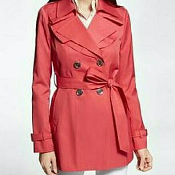 EXPRESS Coral Ruffle Trench Coat Size XS