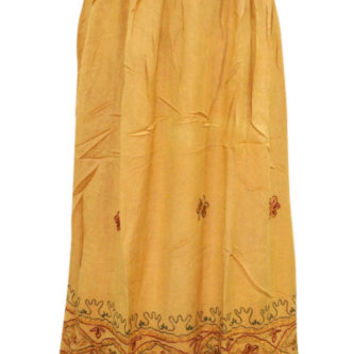 Womens Medieval Skirt Yellow Floral Embroidered Rayon Gypsy Hippy Boho Skirts