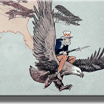 Uncle Sam Riding American Eagle and American Airplanes Picture on Acrylic Wall Art Décor Framed Ready to Hang!