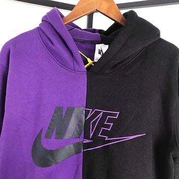 Nike Fashion Purple and Black Splicing Pullover Sweater Sweatshirt Hoodie