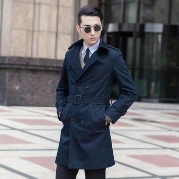 High quality slim trench coat men overcoat mens clothing belt double breasted outerwear casaco masculino casual dark blue 9XL